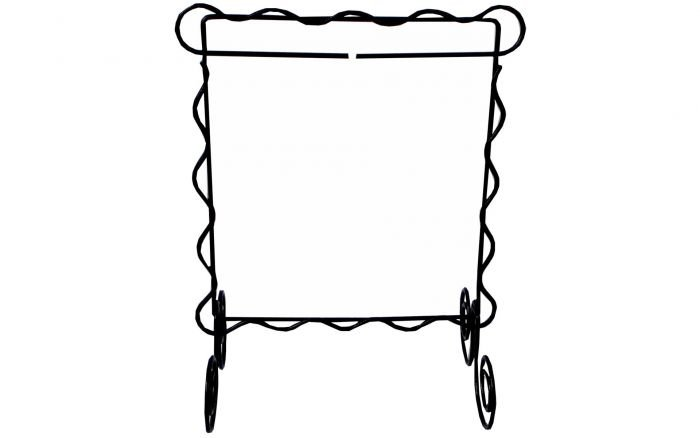 *SCALLOPED SINGLE ITEM WIRE TABLE STAND//SIZE 6x 6//GRAY COLOR//ACKFELD MANUFACTURING CO.