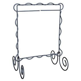 *SCALLOPED SINGLE ITEM WIRE TABLE STAND//SIZE 8x8//GRAY COLOR//ACKFELD MANUFACTURING CO.