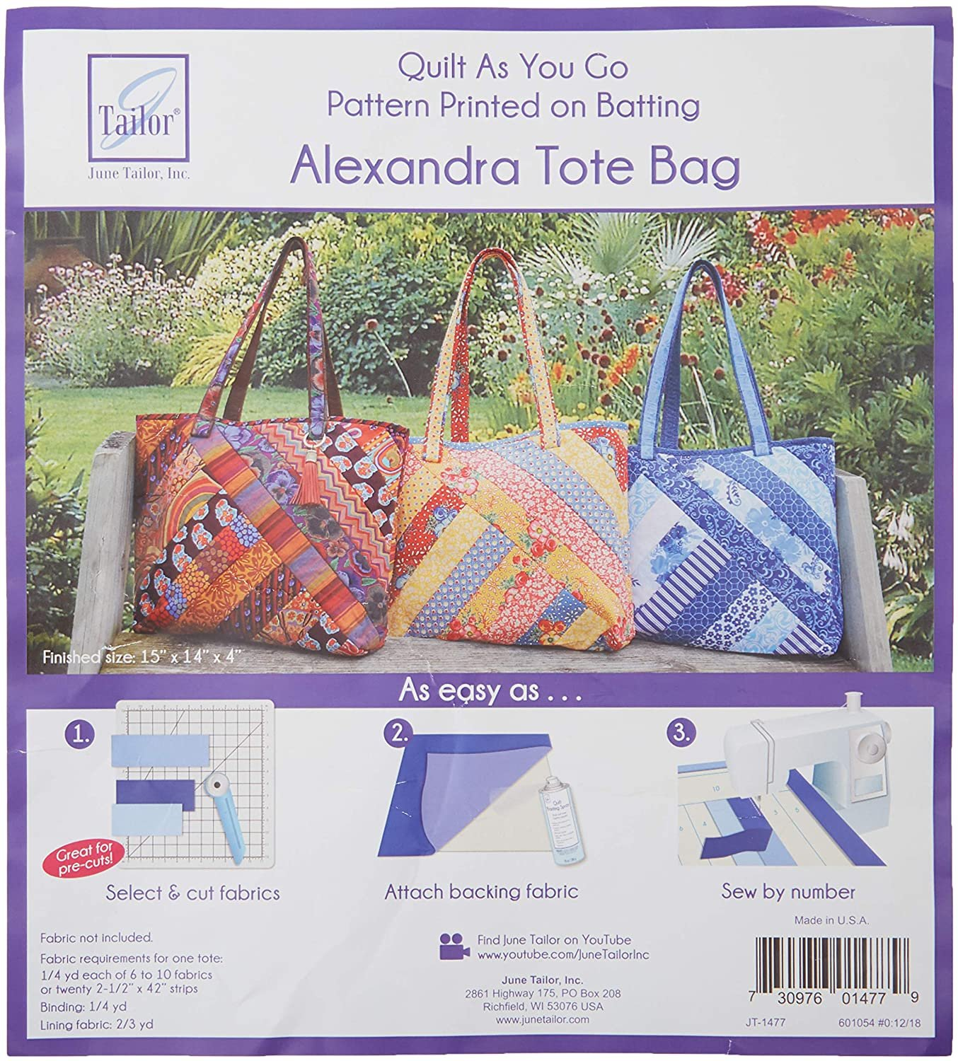 *ALEXANDRA TOTE BAG//QUILT AS YOU GO SEW BY NUMBER//PRINTED BATTING//JUNE TAILOR INC