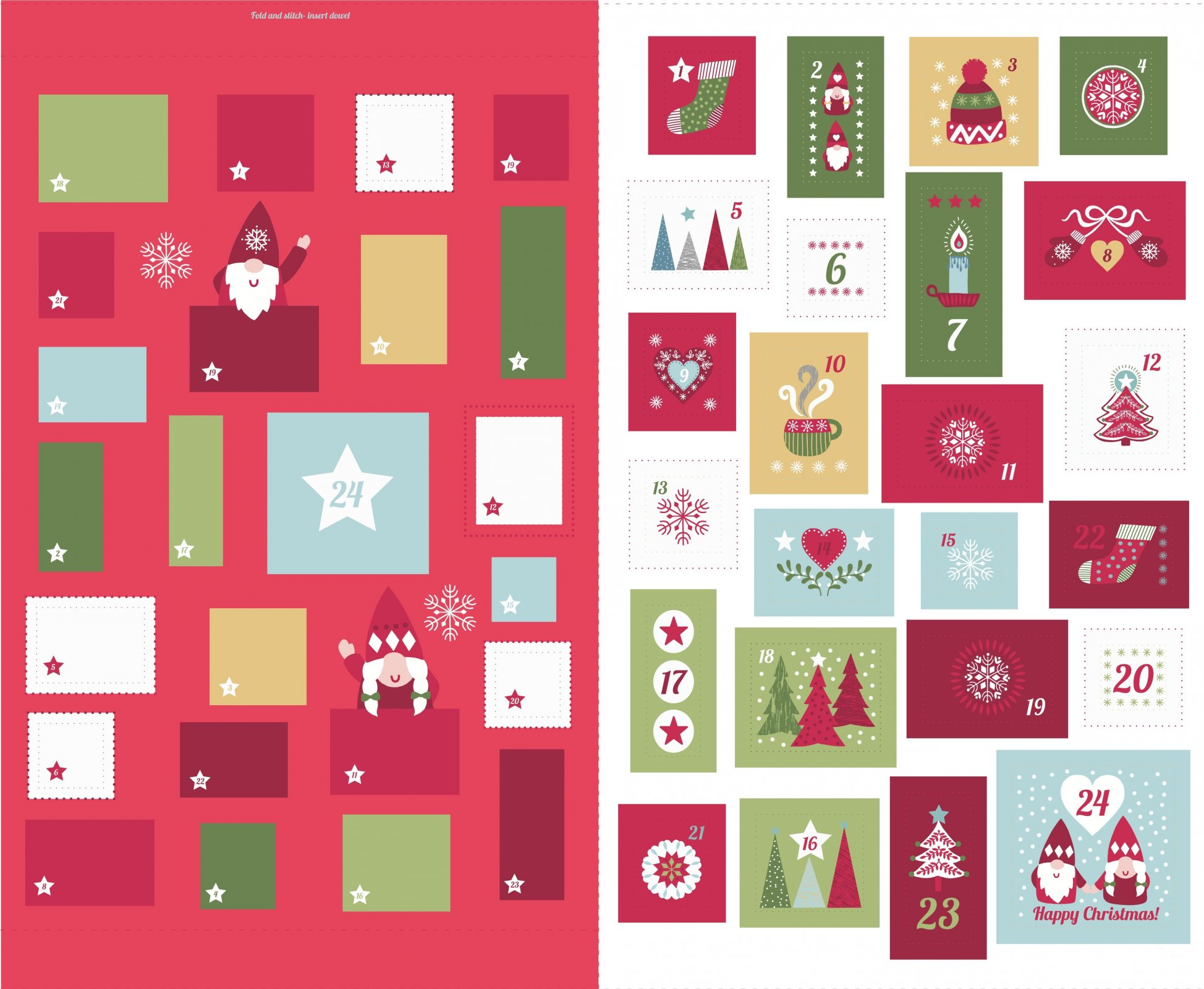*HYGGE CHRISTMAS//PANEL 36x45// ADVENT CALENDER//RED//LEWIS & IRENE