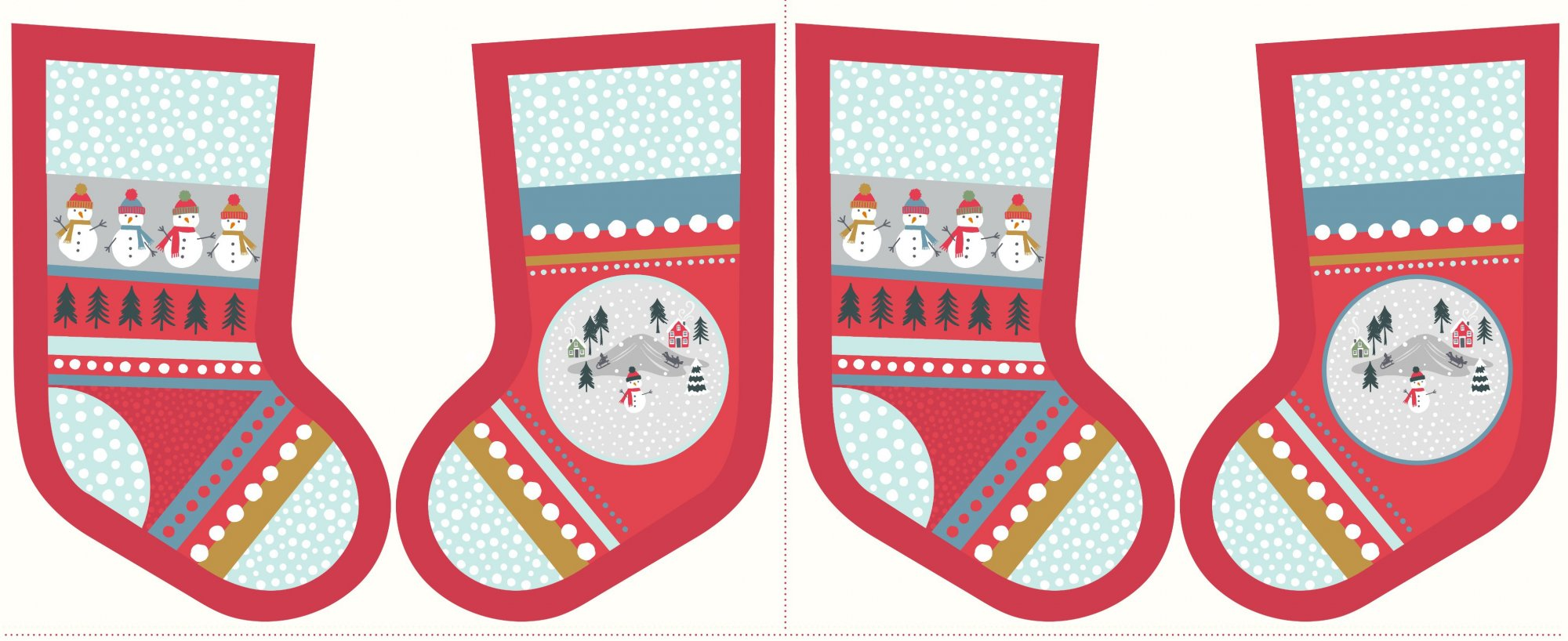 *SNOW DAYS//PANEL 18x45//STOCKING//PEARLESCENT HIGHLIGHTS//RED//LEWIS & IRENE
