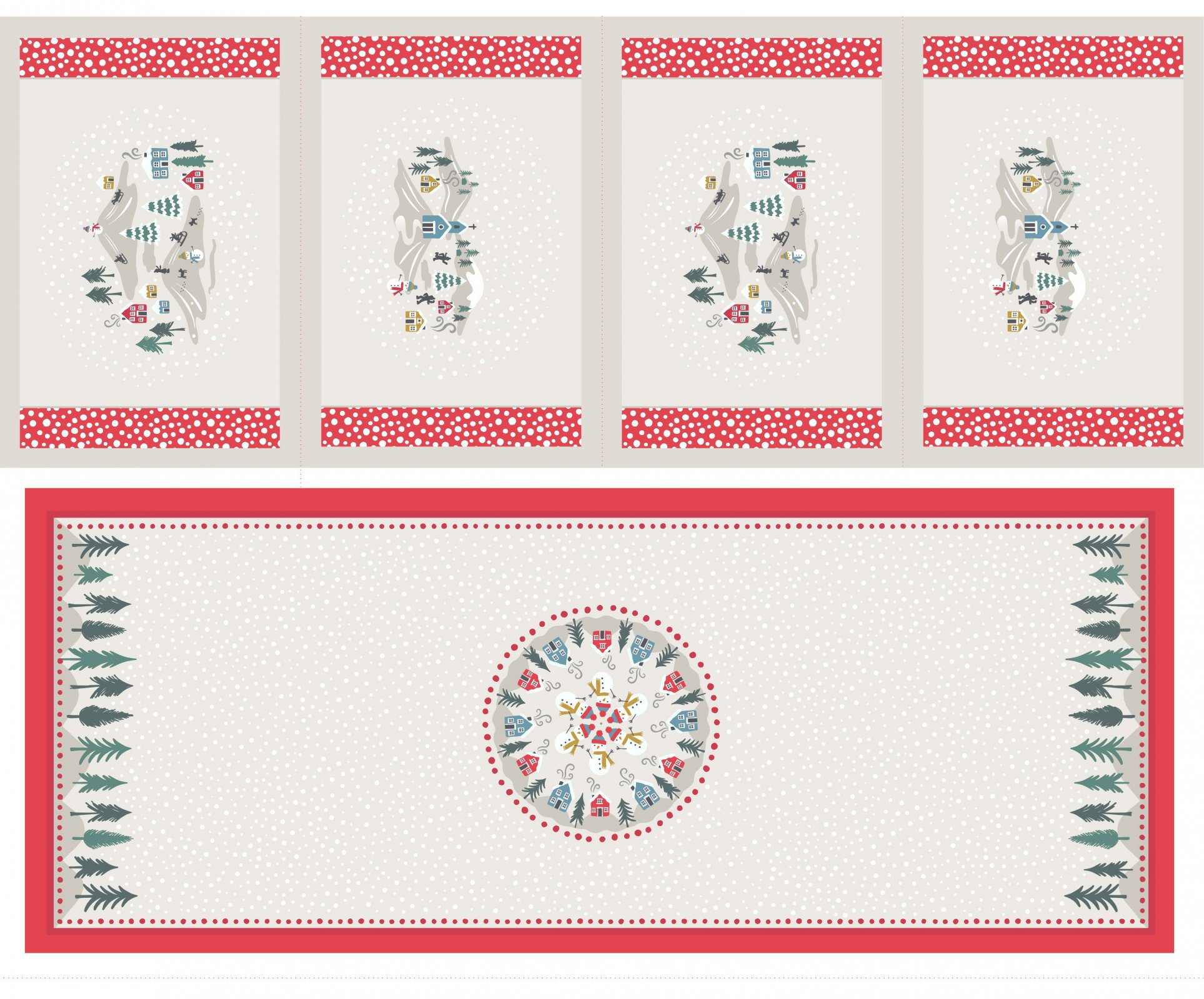 *SNOW DAYS//PANEL 36x45//TABLE RUNNER & 4 PLACEMATS//PEARLESCENT HIGHLIGHTS//CREAM//LEWIS & IRENE