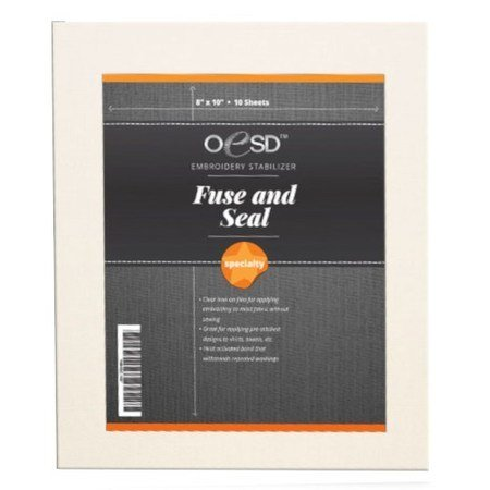 *NO SEW FUSE AND SEAL CUTAWAY//8X 10 SHEETS//20 SHEETS PER PKG//OESD