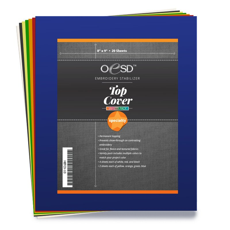 *TOP COVER PERMANENT TOPPING//8 X 9 //20 SHEETS OF WHITE, RED, BLACK, YELLOW, ORANGE, GREEN, BLUE//STABILIZER//OESD