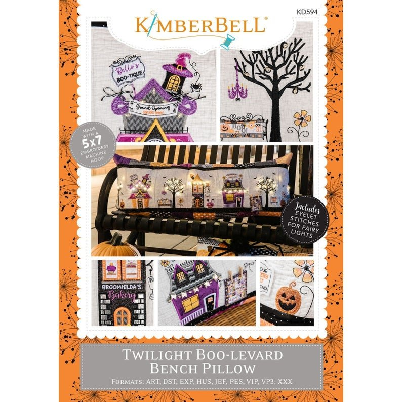 *TWILIGHT BOO-LEVARD BENCH PILLOW PATTERN//EMBROIDERY VERSION//MULTI FORMATTED CD//KIMBERBELL