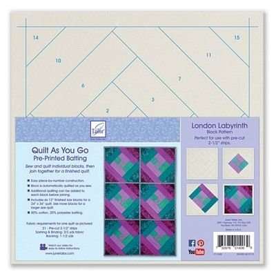 *LONDON LABYRINTH BLOCK PATTERN//QTY 6-12 BLOCKS//SIZE 24x36 WITH 6 BLOCKS//QUILT AS YOU GO//PRINTED BATTING//JUNE TAILOR INC