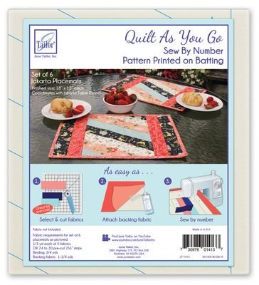 *JAKARTA PLACEMATS - SET OF 6//SIZE 18x13//QUILT AS YOU GO//PRINTED BATTING//JUNE TAILOR INC