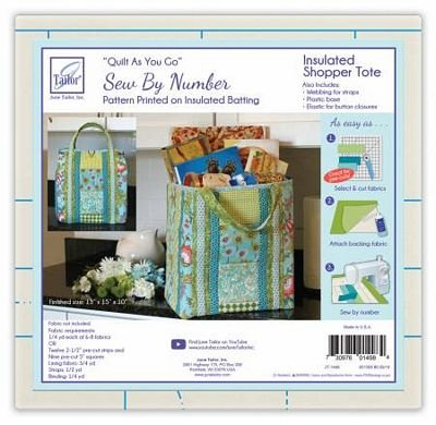 *INSULATED SHOPPER TOTE//QUILT AS YOU GO SEW BY NUMBER//INSULATED PRINTED BATTING//JUNE TAILOR INC