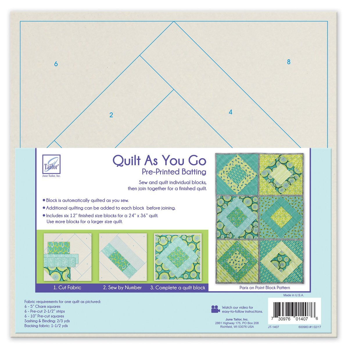 *PARIS ON POINT BLOCK PATTERN//QTY 6-12 BLOCKS//SIZE 24x36 WITH 6 BLOCKS//QUILT AS YOU GO//PRINTED BATTING//JUNE TAILOR INC