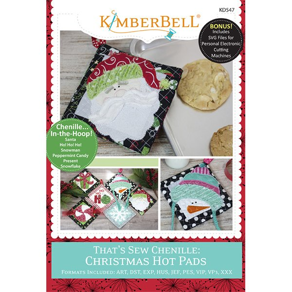 *THAT'S SEW CHENILLE//CHRISTMAS HOT PADS//MACH EMBORIDERY VERSION//CD-MULTI FORMAT//KIMBERBELL