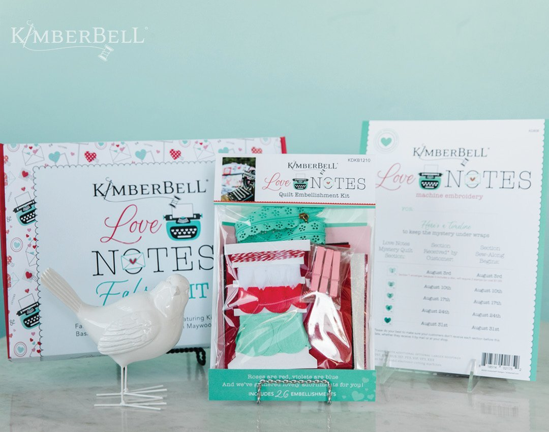 *COMPLETE KIT LOVE NOTES MYSTERY QUILT//EMBROIDERY VERSION//INCLUDES FABRIC(NO BACKING)-INSTRUCTIONS-EMBELLISHMENT KIT//SIZE 40x40//KIMBERBELL