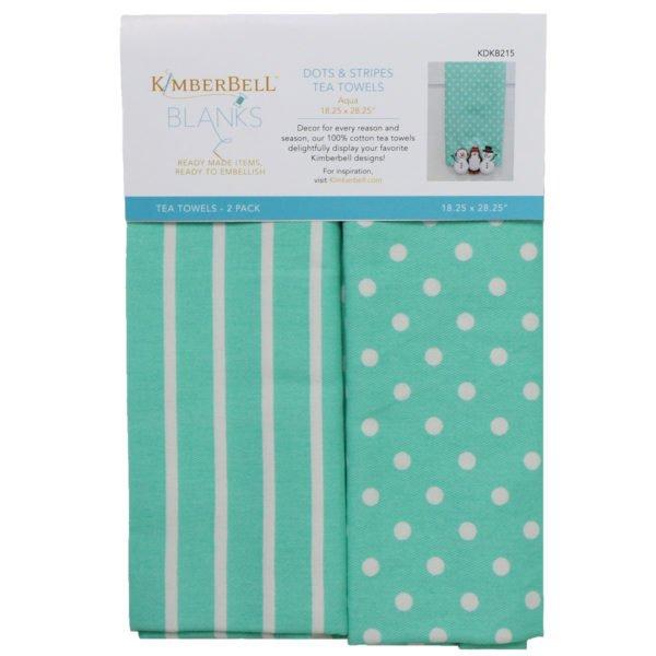 *DOTS & STRIPES TEA TOWELS//AQUA//2 BLANK TOWELS//SIZE 18.25 x 28.25//KIMBERBELL