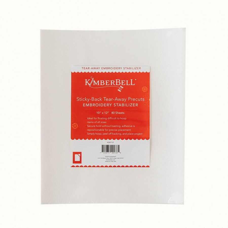 *STICKY-BACK TEAR-AWAY PRECUTS EMBROIDERY STABILIZER//SHEET SIZE 10x 12//QTY 40 SHEETS- WHITE//KIMBERBELL