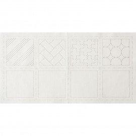 *SASHIKO COASTER PRE-PRINTED CLOTH//4 COASTERS//3.9x3.9 SIZE//WHITE SASHIKO//COTTON//LECIEN