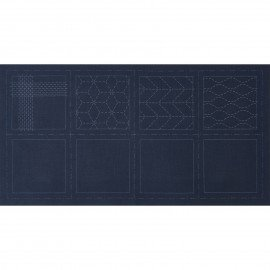 *SASHIKO COASTER PRE-PRINTED CLOTH//4 COASTERS//3.9x3.9 SIZE//BLUE//COTTON//LECIEN