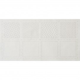*SASHIKO COASTER PRE-PRINTED CLOTH//4 COASTERS//3.9x3.9 SIZE//WHITE HITOME-ZASHI//COTTON//LECIEN