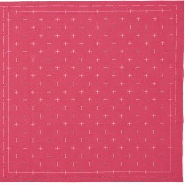 *SASHIKO PRE-PRINTED CLOTH//12.6 SQUARE//ROSE//COTTON-LINEN//LECIEN