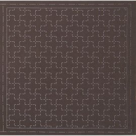 *SASHIKO PRE-PRINTED CLOTH//12.6 SQUARE//BROWN//COTTON-LINEN//LECIEN
