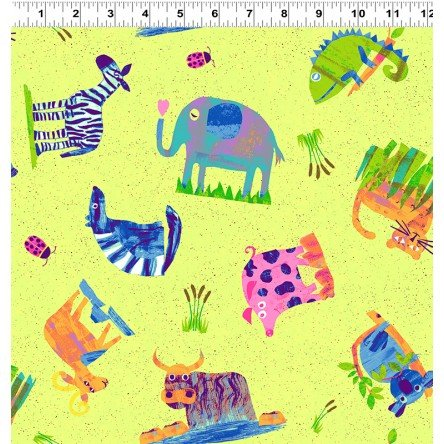 *ANIMAL MAGIC//ANIMAL PLAY//MULTI BRIGHT LIME//TRACEY ENGLISH//CLOTHWORKS
