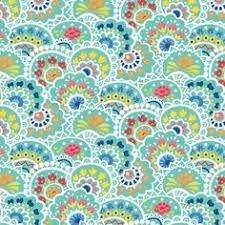 Bree Multi Paisley Aqua  Fabric 02132 24