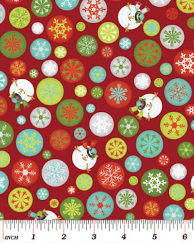 Ho Ho Ho, Let It Snow 3293-10 Drifting Snow Flakes Red