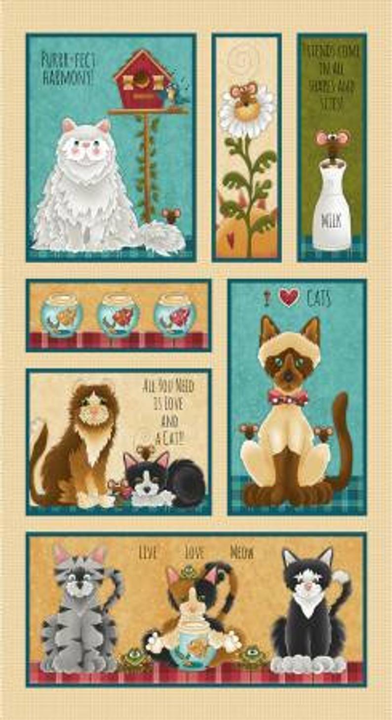 Live, Love, Meow- Cat Panel- 1936P-44 Cream