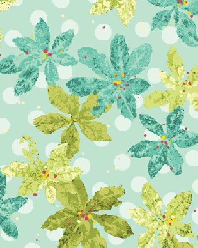 Nancy's Favorites 2369-5 Poinsettias Aquamarine