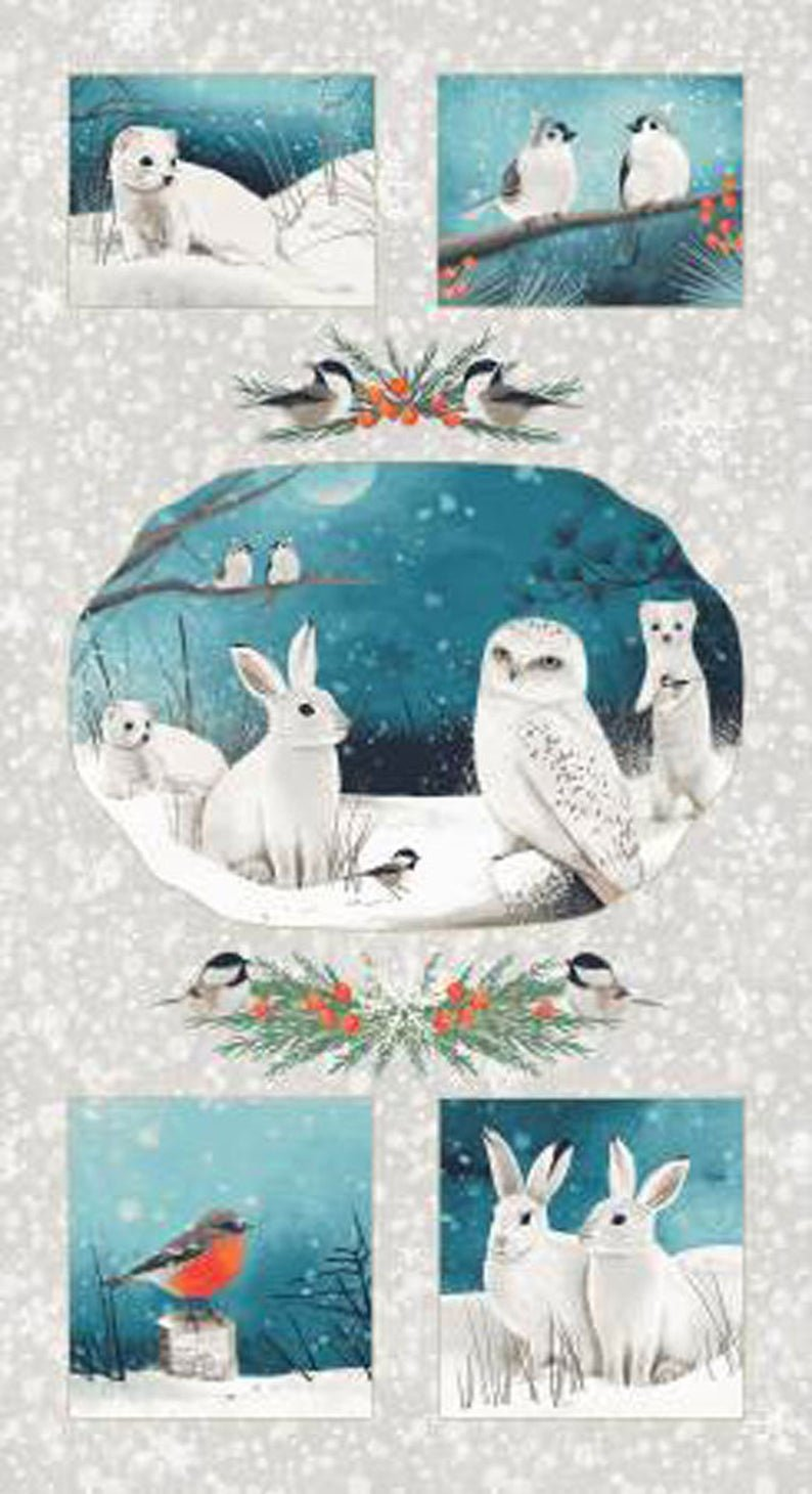 Winter Woodland Lg Animal Panel- 24 x 44