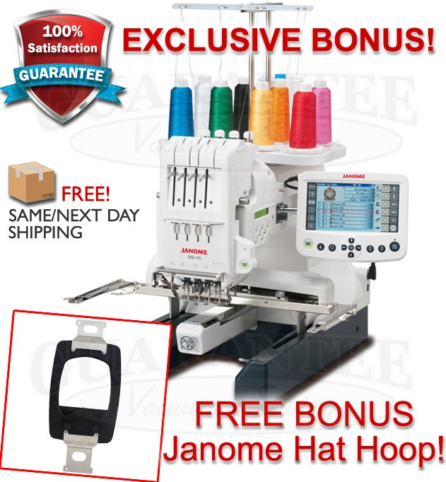 JANOME MB-4S Professional Four-Needle Embroidery Machine FREE BONUS HAT HOOP! SALE!