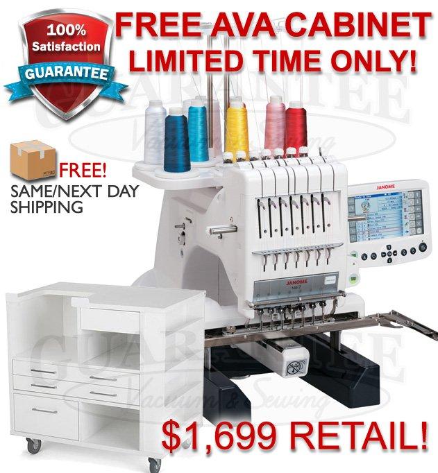 JANOME MB7 Professional 7 Needle Embroidery Machine w/ FREE AVA CABINET