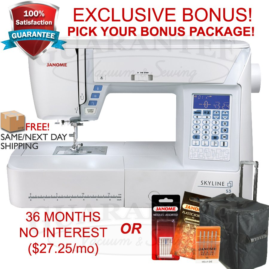 JANOME Skyline S3 Quilting/Sewing 8 1/4 Extended Arm w/ FREE BONUS! NEW LOWER PRICE