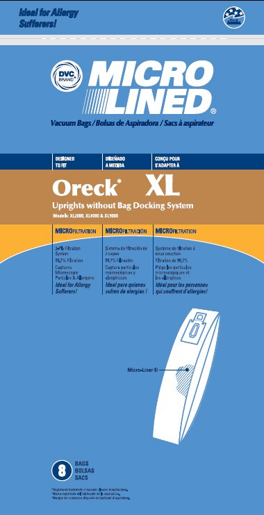 ORECK XL bags, no docking system, 8 pk