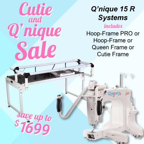 QNIQUE 15R Long Arm Quilting Machine with Q-Zone Hoop PRO Frame