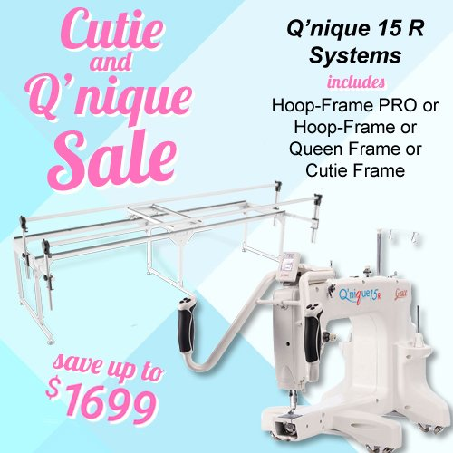 QNIQUE 15R Long Arm Quilting Machine with Q-Zone Queen Frame