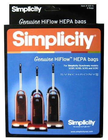 SIMPLICITY W HEPA bags, 6 pk