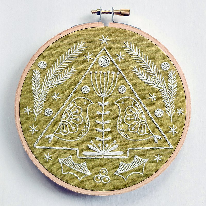 Folk Holiday Embroidery Kit - Cozyblue