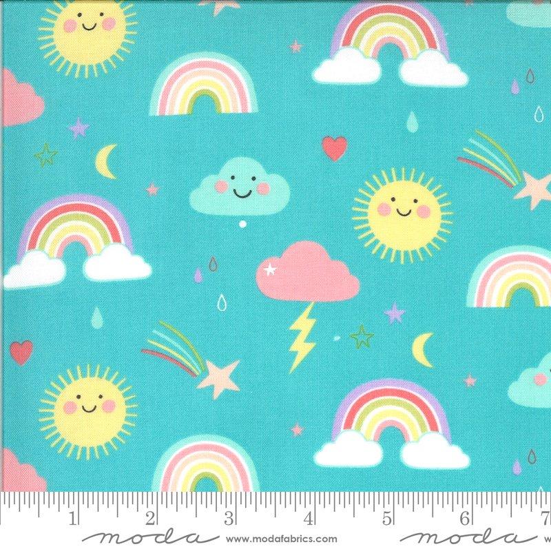Rainbows - Aqua - Hello Sunshine - Abi Hall - Moda Fabrics