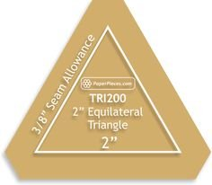 2 Equilateral Triangle Acrylic Template with 1/4 seam allowance