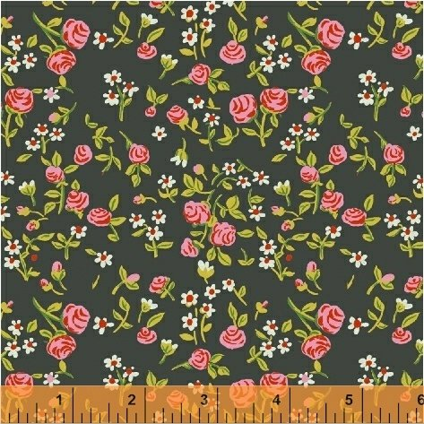 Mousies Floral: Dark Green - Trixie - Heather Ross