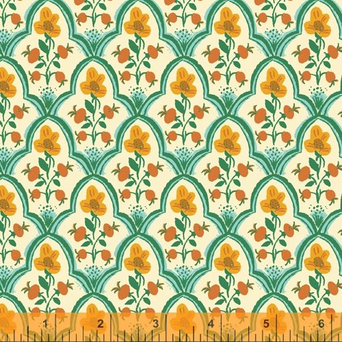Wood Block in Ocean - Malibu - Heather Ross - Windham Fabrics