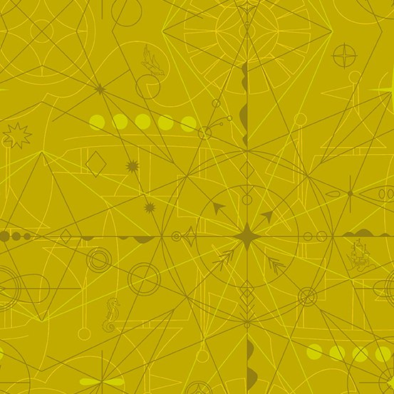 Compass in Chartreuse - Sun Print 2018 - Alison Glass