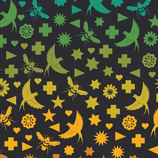Seventy Six Bird & Bee in Night - Art Theory - Alison Glass - Andover