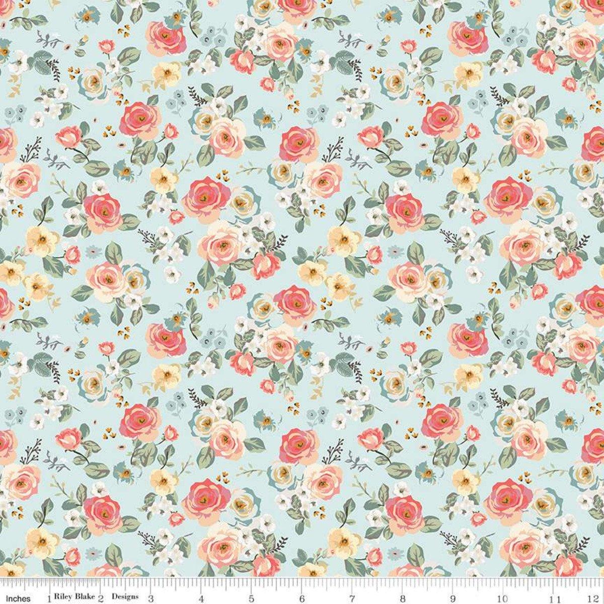 Floral - Aqua - Gingham Gardens - Mind's Eye - Riley Blake