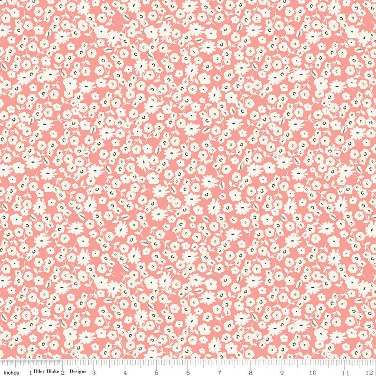 Blossoms - Coral - Gingham Gardens - Mind's Eye - Riley Blake