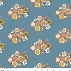 Flowers in Blue - Guinevere - Citrus & Mint - Riley Blake