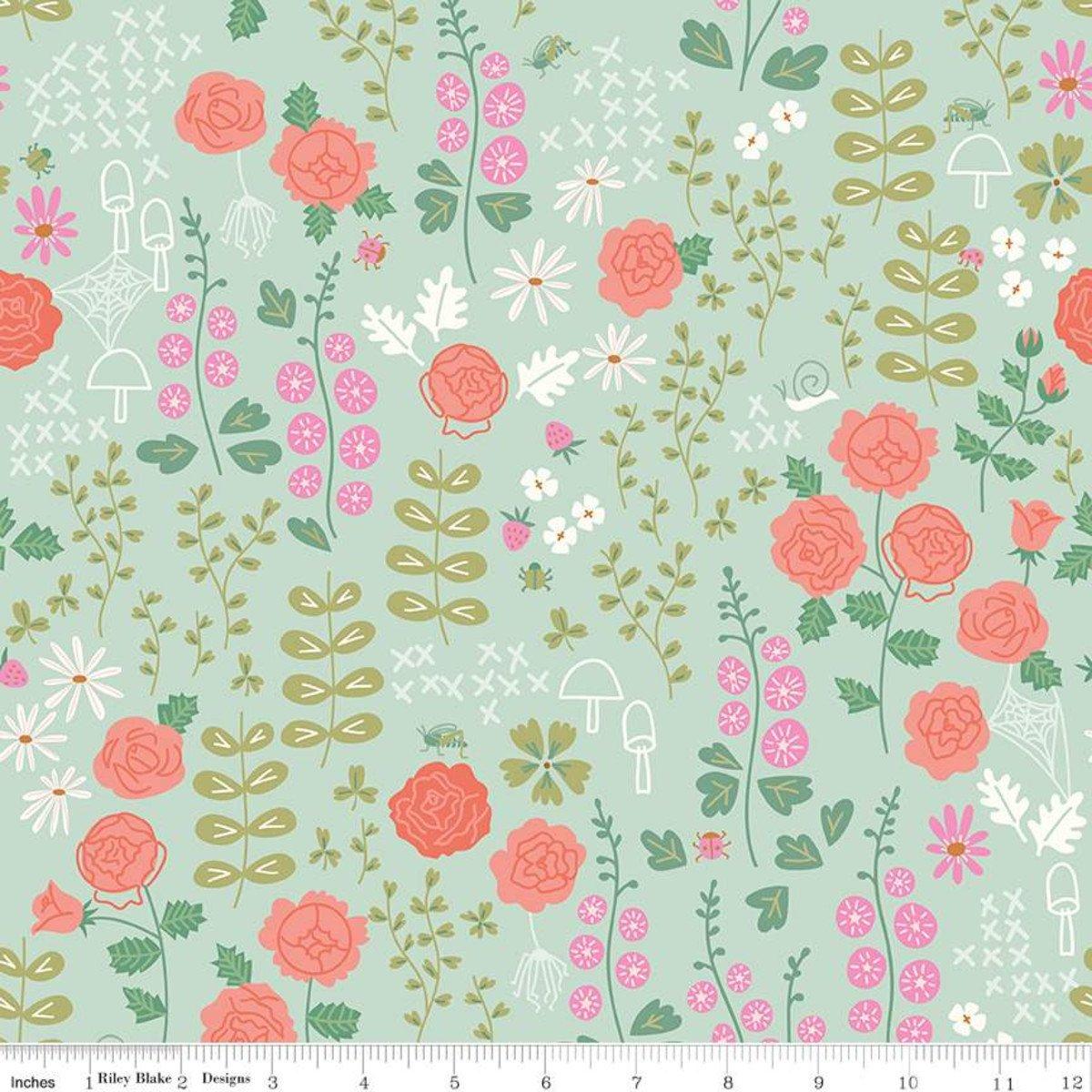 Rose Garden: Mint - New Dawn - Citrus & Mint Designs - Riley Blake Designs