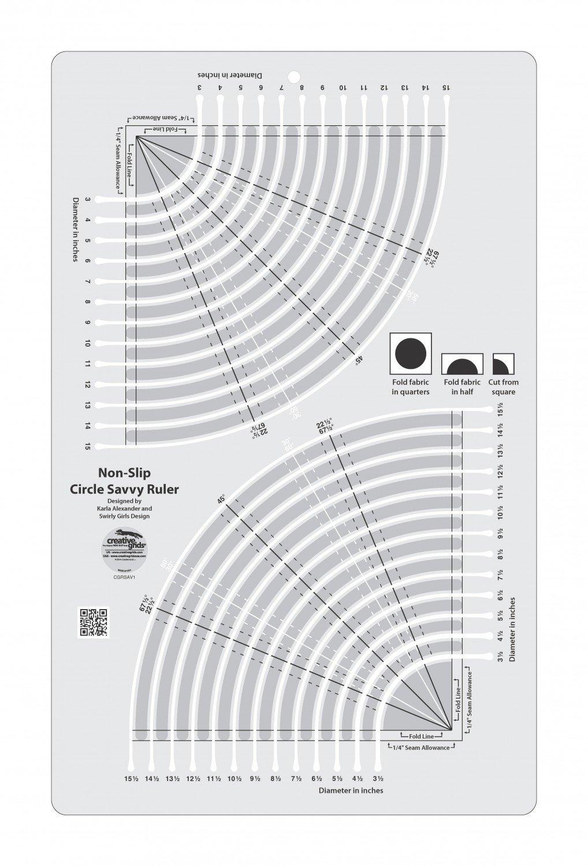 Creative Grids Circle Savvy 11.75 x 18.5 Quilt Ruler