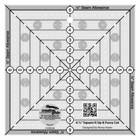 Creative Grids 6-1/2in Fussy Cut Square Quilt Ruler