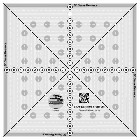 Creative Grids 9-1/2in Fussy Cut Square Quilt Ruler