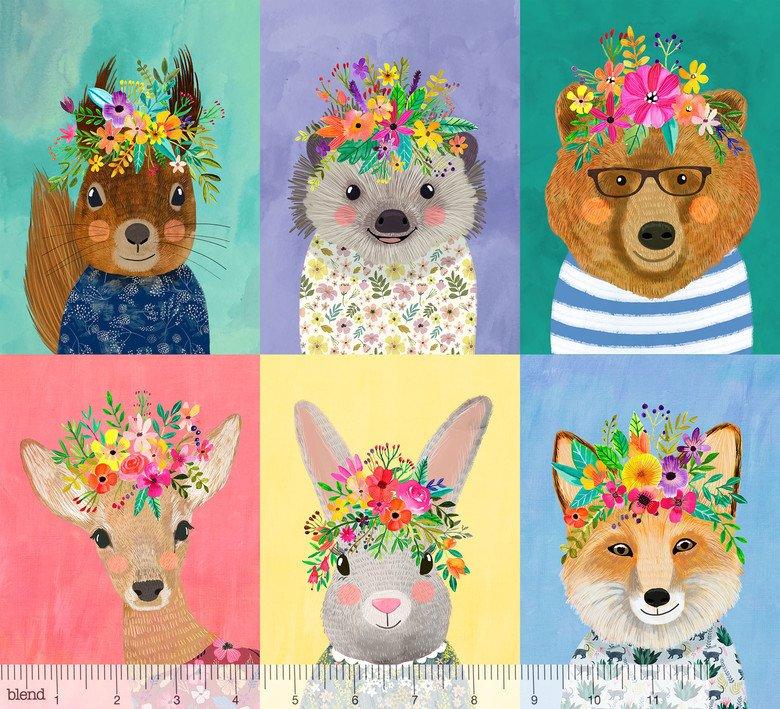 Forest Friends Panel Multi - Forest Friends - Mia Charro - Blend Fabrics